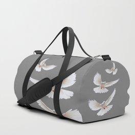 WHITE PEACE DOVES ON GREY COLOR DESIGN ART Duffle Bag