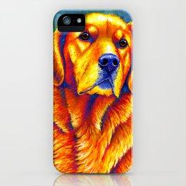 Colorful Golden Retriever Dog Portrait iPhone Case