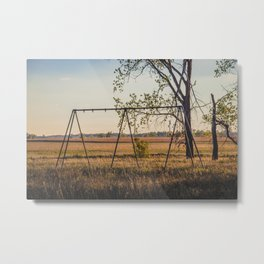 Swing Set, Grass Lake School, North Dakota 1 Metal Print