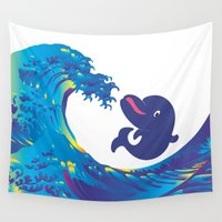 hokusai Wall Tapestries featuring Hokusai Rainbow & Babydolphin by FACTORIE