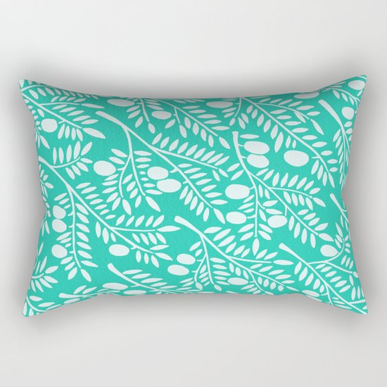 Turquoise Olive Branches Rectangular Pillow