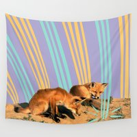 foxes Wall Tapestries featuring Foxes by Celery Woulise