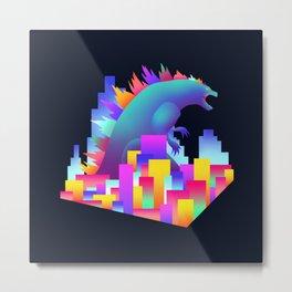 Neon city Godzilla Metal Print