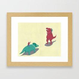Riding Dinosaurs Framed Art Print