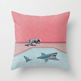Shark and Kitty Throw Pillow