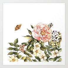 Vintage floral watercolor background Art Print