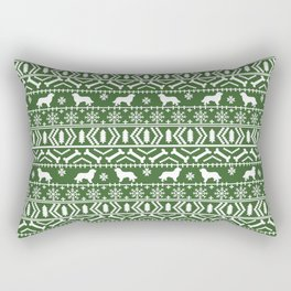 Bernese Mountain Dog fair isle christmas green and white pattern holiday dog breed gifts Rectangular Pillow