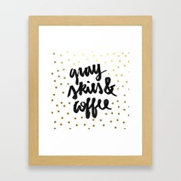 Gray skies and coffee (white and gold) Framed Art Print