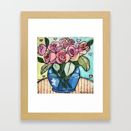 Roses in Blue vase collage Framed Art Print