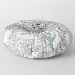 Portland, OR City Map Black/White Floor Pillow