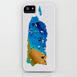 Colorful Art Puerto Rico Map Blue and Brown iPhone Case