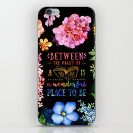 Between the pages - black iPhone Skin