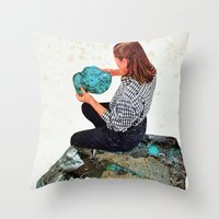 turquoise Throw Pillows featuring TURQUOISE by Beth Hoeckel