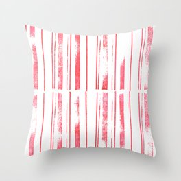 simple stamped scarlet stripes Throw Pillow