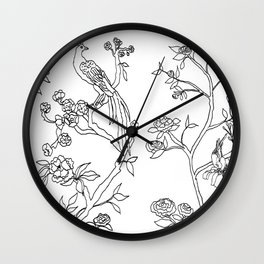 Color Your Own Chinoiserie Panels 4-5 Contour Lines - Casart Scenoiserie Collection Wall Clock