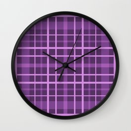 Plaid in black and purple colours . Wall Clock