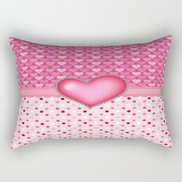 Pink Hearts and Polka Dots  Rectangular Pillow