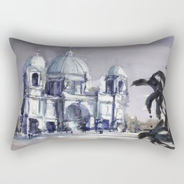 Painting of the Berlin Cathedral.  Fine art watercolor painting of Protestant Berlin Cathedral Rectangular Pillow