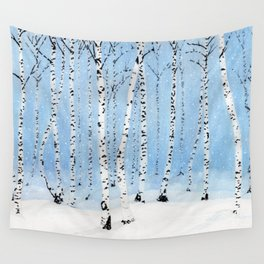 Late Afternoon Snowstorm in the Forest Wall Tapestry