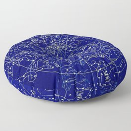 Constellation Stars blue space map on gold marble Floor Pillow