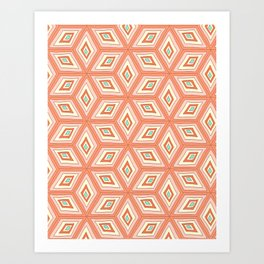 Living Coral Tilted Cubes Pattern Art Print