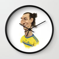 sweden Wall Clocks featuring Ibrahimovic - Sweden by Sant Toscanni