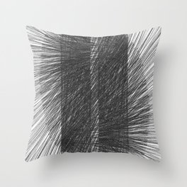 Mid Century Modern Geometric Abstract Black & White Radiating Lines Throw Pillow