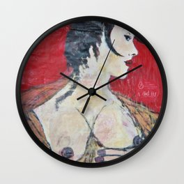 PORTRAIT OF A LADY EXPOSING HER TITS Wall Clock