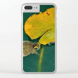 Baby Turtle And Lily Pad Clear iPhone Case