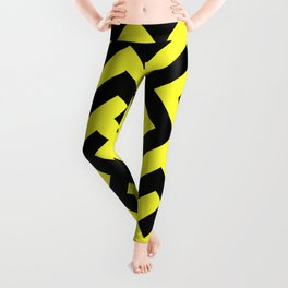 Black and Electric Yellow Diagonal Labyrinth Leggings