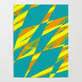Mid Century Diamonds - Teal Yellow Green & Orange Palette Poster