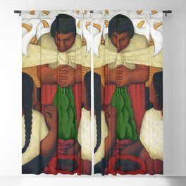 Calla Lilies in white Flower Vendor at the Flower Festival floral portrait painting by Diego Rivera Blackout Curtain