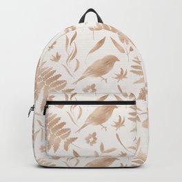 Elegant modern rose gold watercolor floral birds Backpack