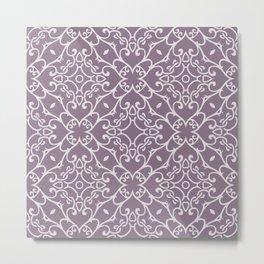 Decorative Floral Pattern 23 - Monsoon Purple, Bon Jour Gray Metal Print