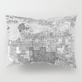 Vintage Map of Vancouver Canada (1920) BW Pillow Sham