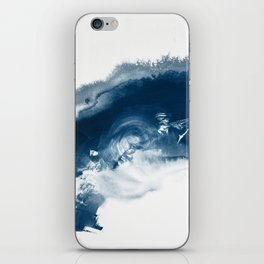 Building the Universe:  A minimal abstract acrylic painting in blue and white by Alyssa Hamilton iPhone Skin