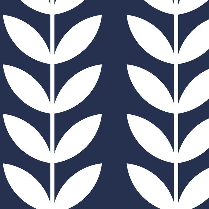 Navy Blue and White Scandinavian leaves pattern Leggings