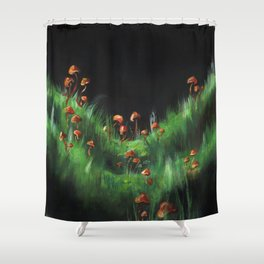Meadow with Mushrooms and Moss: The Nude Shower Curtain