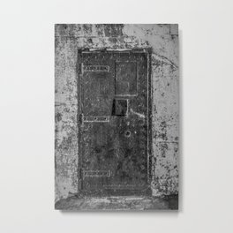 Lighthouse Iron Door Black and White Photography Metal Print