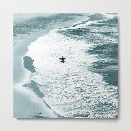 Lone surfer - slate Metal Print