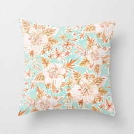 STAY FREE Pastel Floral Throw Pillow