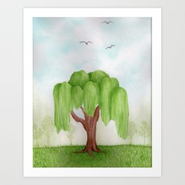 """""""Weeping Willow Tree"""" watercolor landscape painting Art Print"""