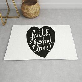 Faith, Hope, love - Black Rug