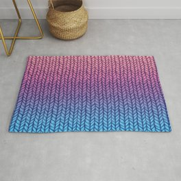 Chunky Knit Pattern in Pink, Blue & Purple Rug