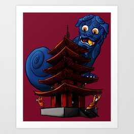 a Dog a Panic in a Pagoda Art Print