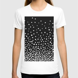 White Polka Dot Rain on Black T-shirt