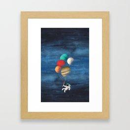 Astronaut Balloons Framed Art Print