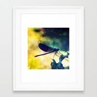 dragonfly Framed Art Prints featuring Dragonfly by Luiza Lazar