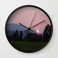 vermont Wall Clocks featuring Vermont Sunset over Green Mountains of Vermont by Vermont Greetings