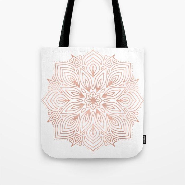 Mandala Rose Gold Flower Tote Bag
